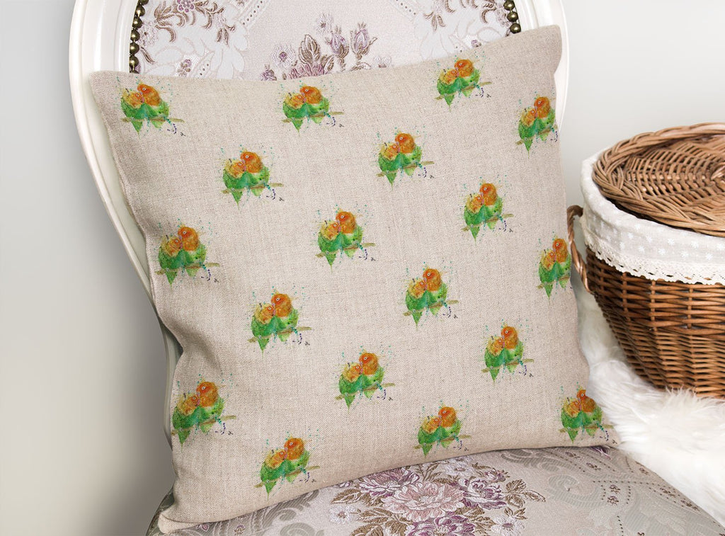 Love Birds Repeat Linen Cushion Cover