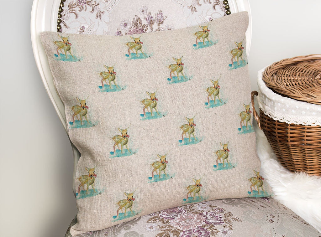 Oh Deer Repeat Linen Cushion Cover