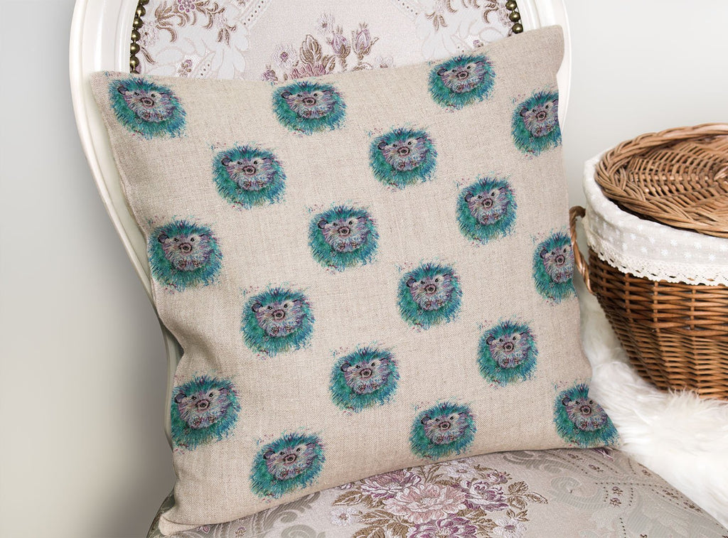 """Maisey"" Hedgehog Repeat Linen Cushion Cover"