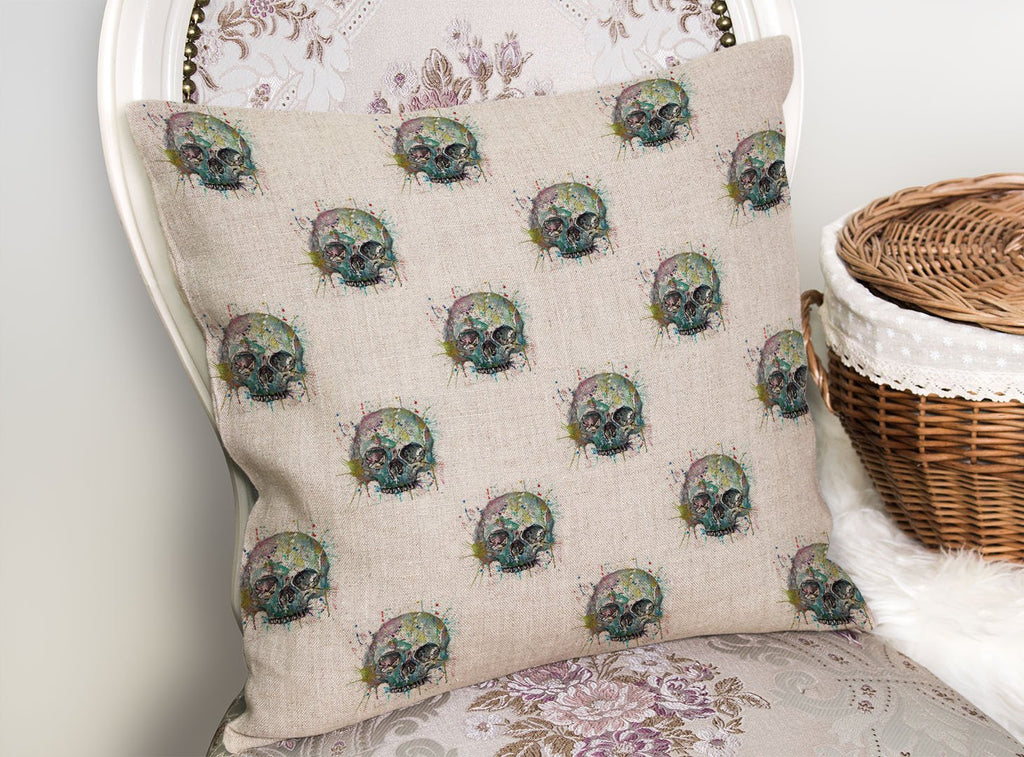Blue Skull Repeat Linen Cushion Cover