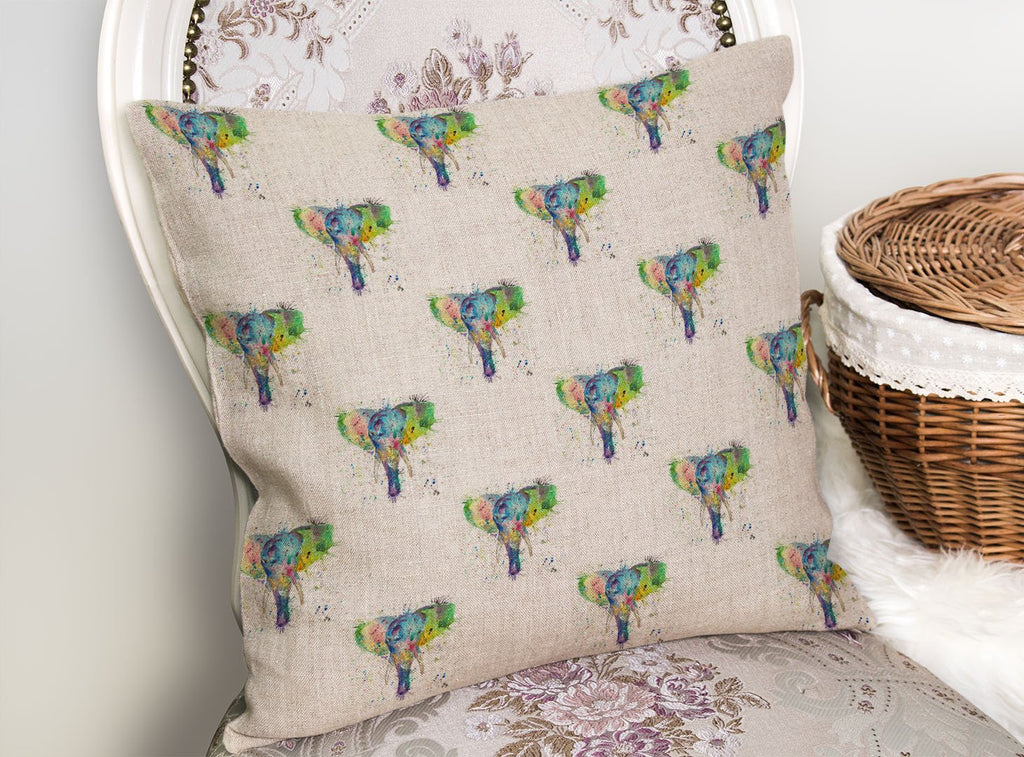 """Major"" Elephant Repeat Linen Cushion Cover"
