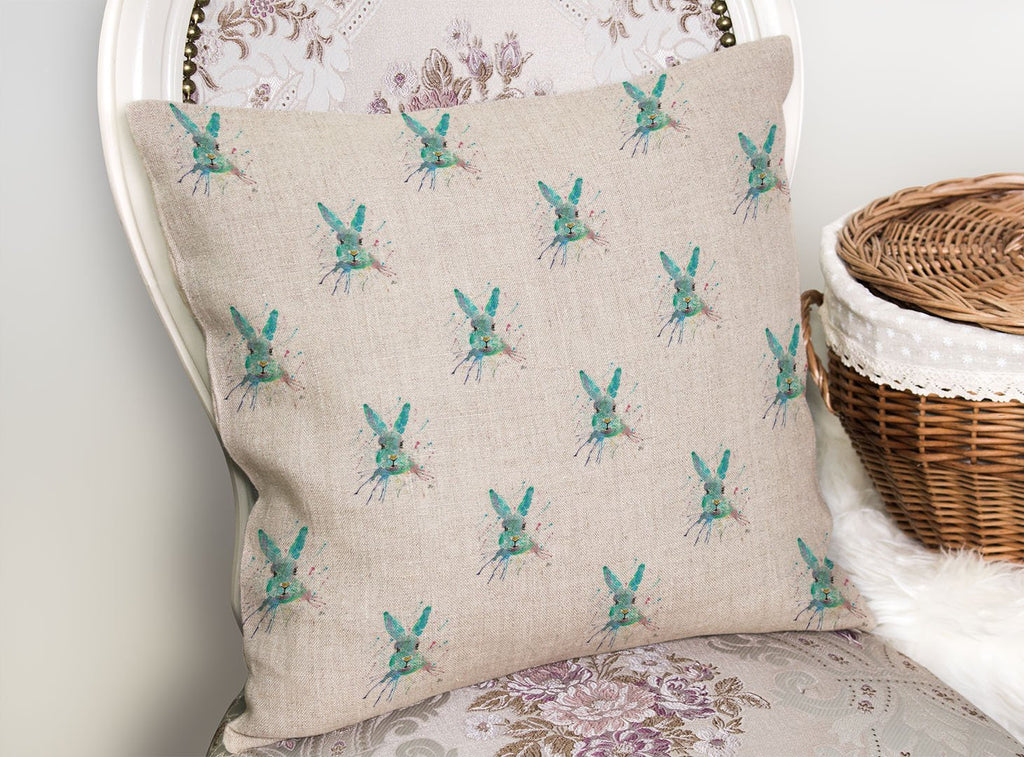 """Minty"" Hare Repeat Linen Cushion Cover"