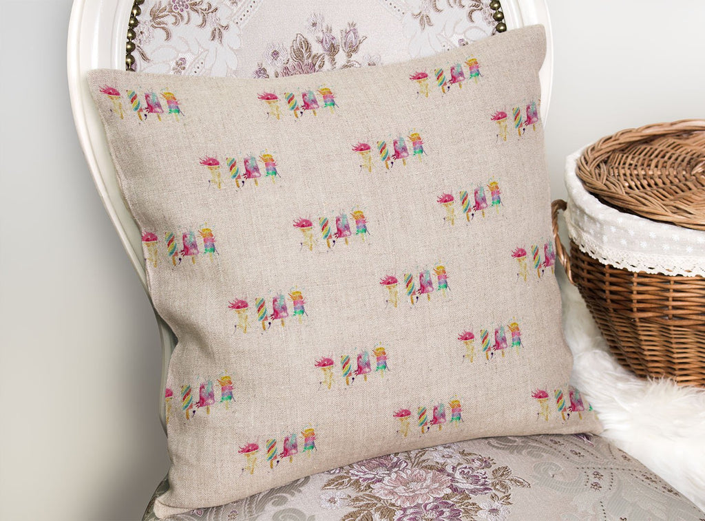 Ice Lollies Repeat Linen Cushion Cover