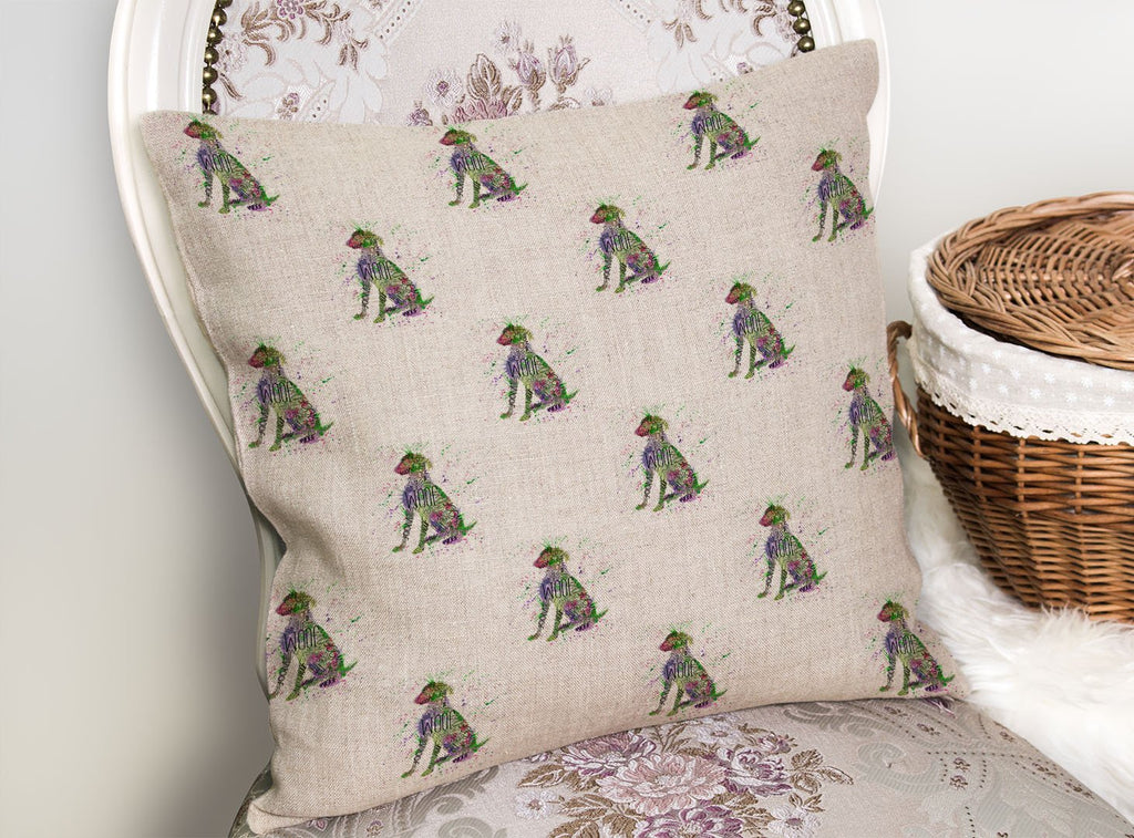 """Woof"" Green Repeat Linen Cushion Cover"