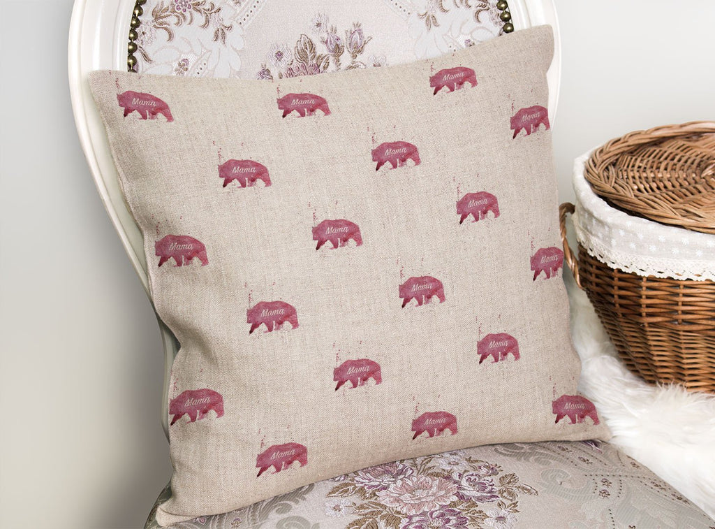 Mama Bear Repeat Linen Cushion Cover