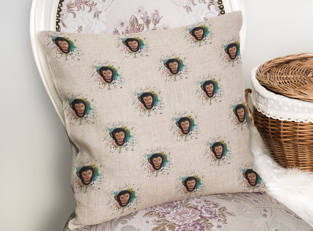"""Ciril"" Monkey Repeat Linen Cushion Cover"