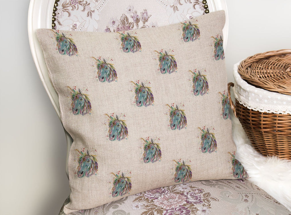 """Millie"" Unicorn Repeat Linen Cushion Cover"