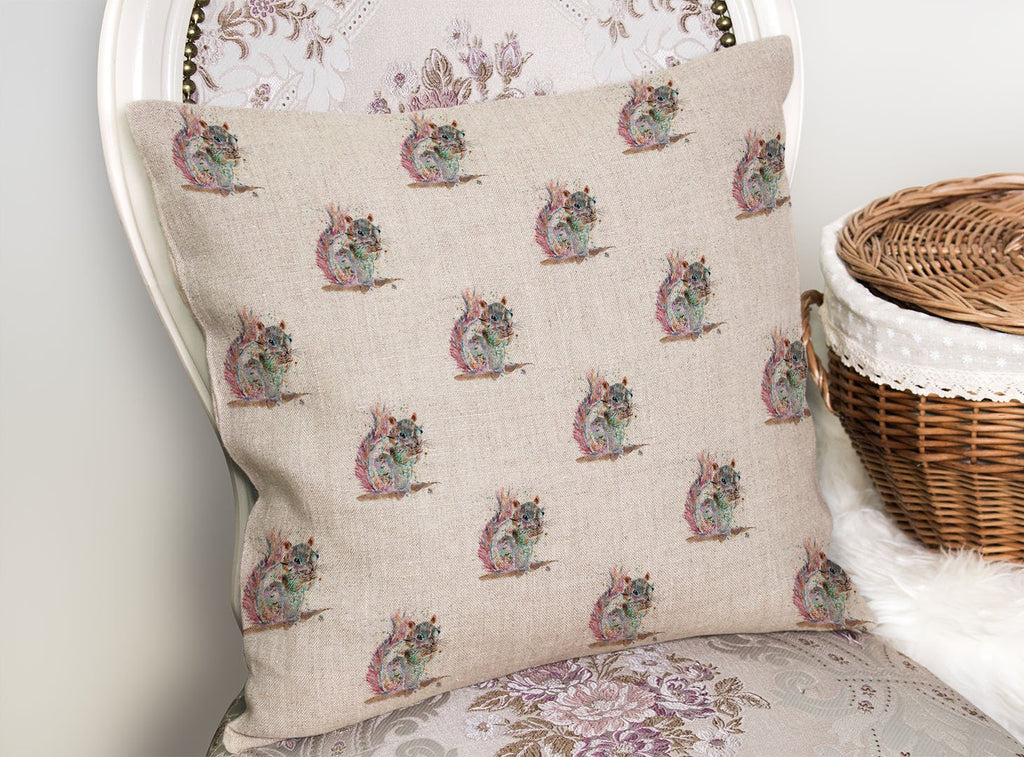 """Nige"" Squirrel Repeat Linen Cushion Cover"