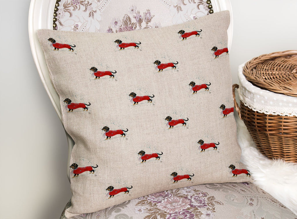 Sausage Roll Repeat Linen Cushion Cover