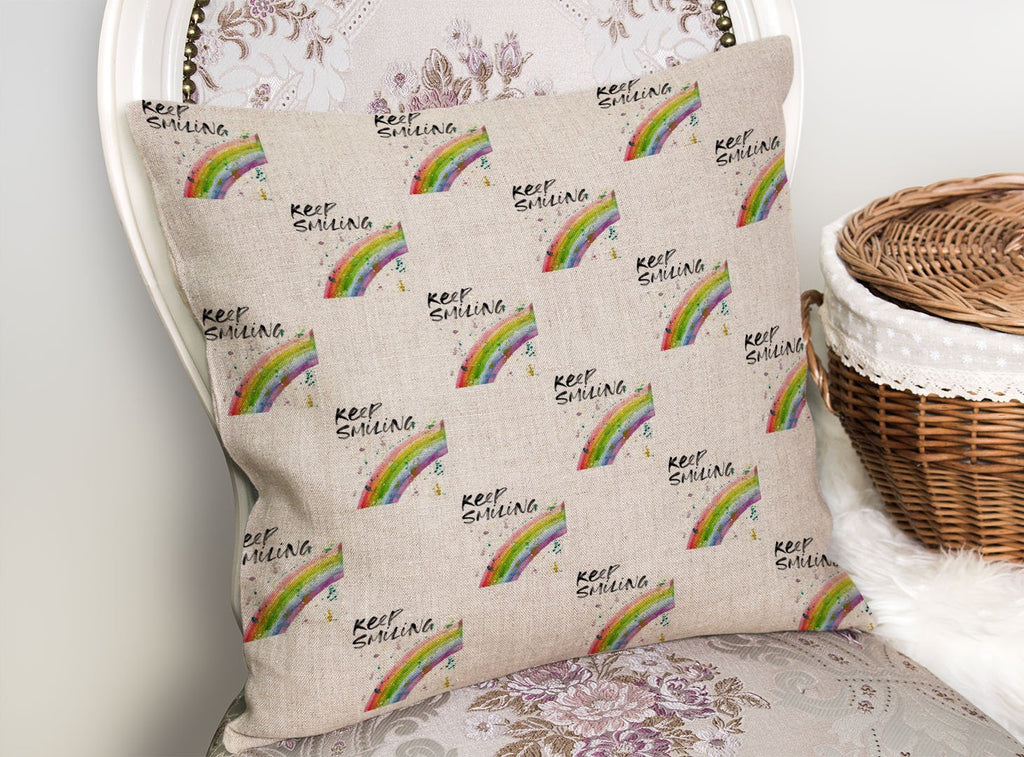 """Keep Smiling"" Rainbow Repeat Linen Cushion Cover"
