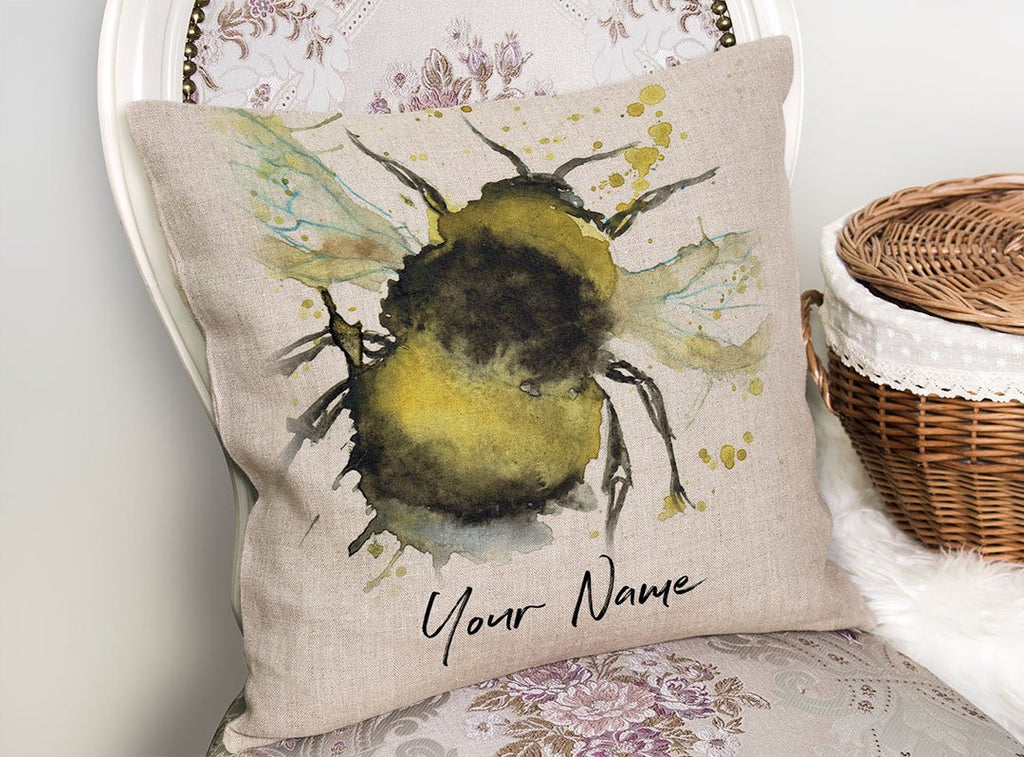 Bumble Bee Personalised Linen Cushion Cover