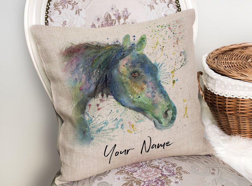 """Neigh"" Horse Personalised Linen Cushion Cover"