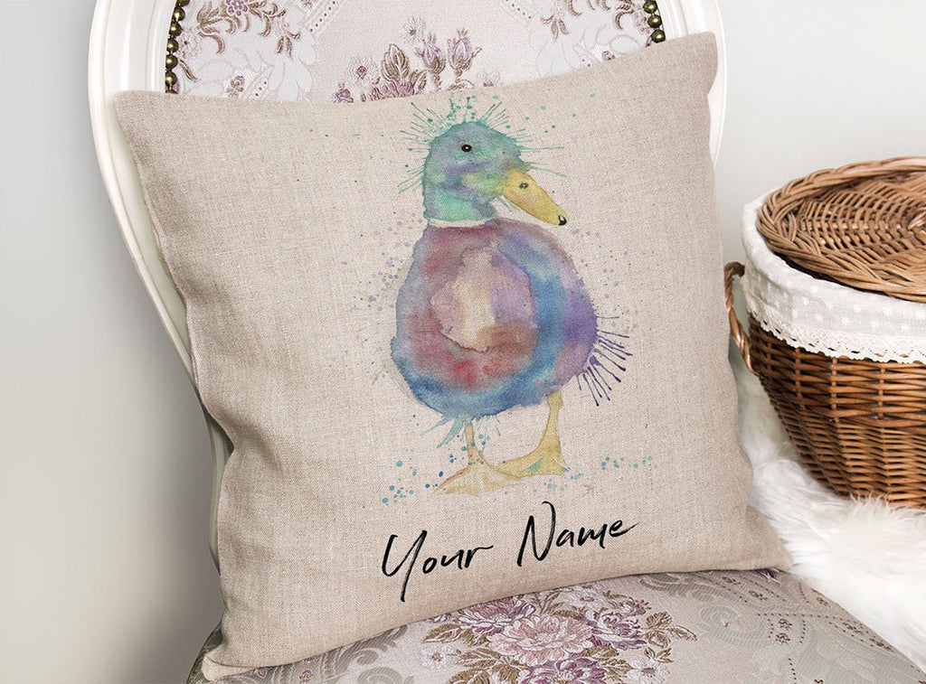 Monsieur Puddle Duck Personalised Linen Cushion Cover