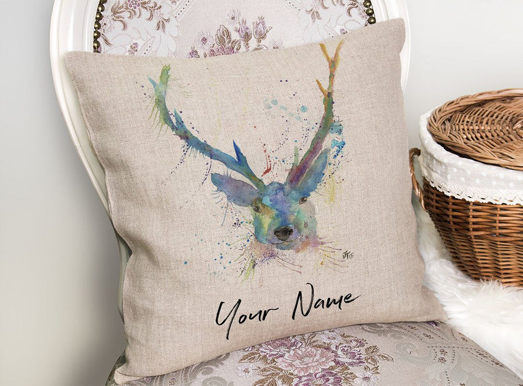 """Bruce"" Stag Personalised Linen Cushion Cover"