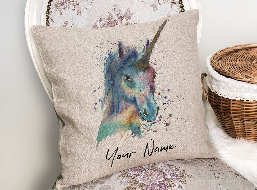 """Marge"" Unicorn Personalised Linen Cushion Cover"
