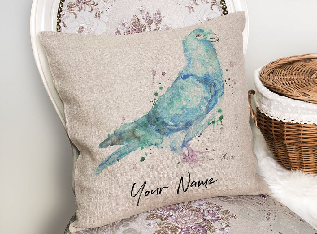 """Pete"" Pigeon Personalised Linen Cushion Cover"