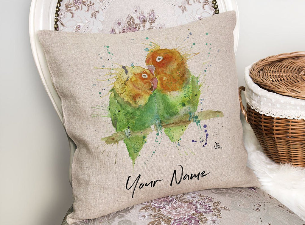 Love Birds Personalised Linen Cushion Cover