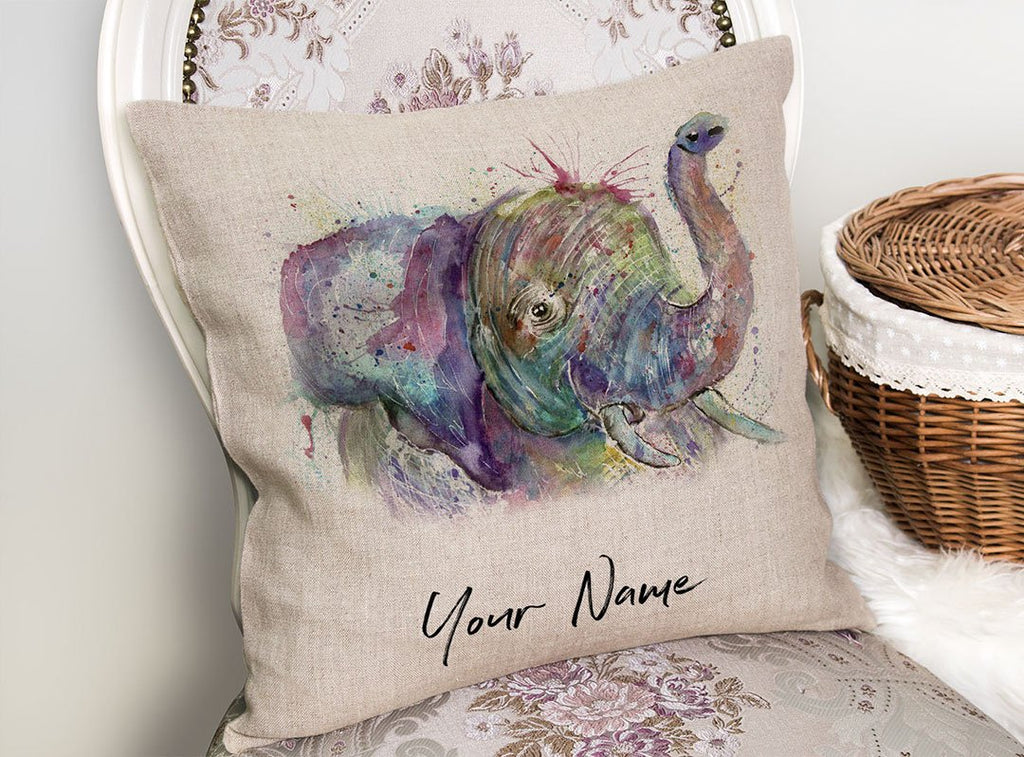"""Ele"" Elephant Personalised Linen Cushion Cover"