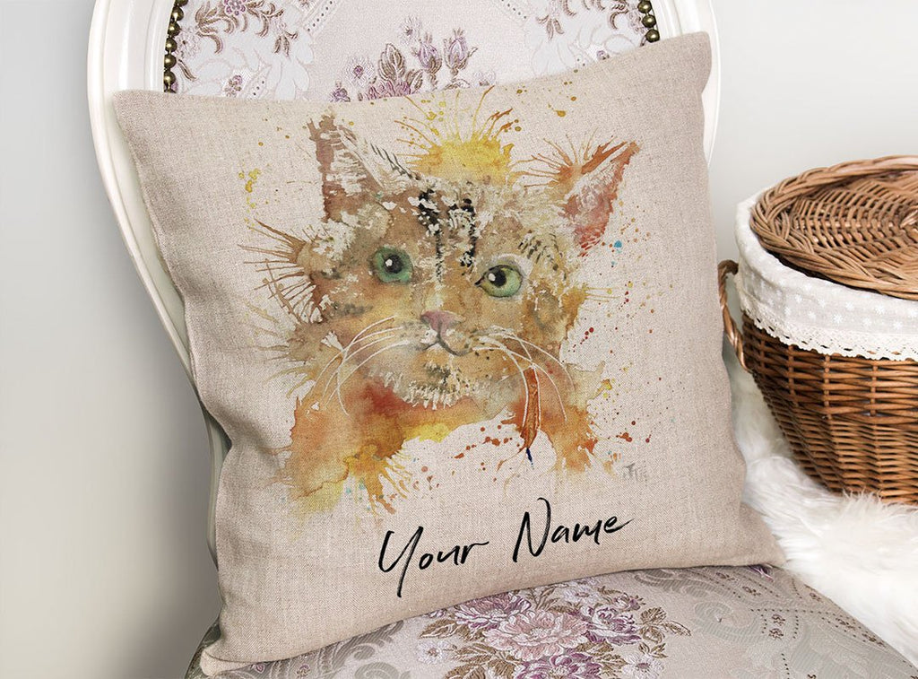 Mew Personalised Linen Cushion Cover