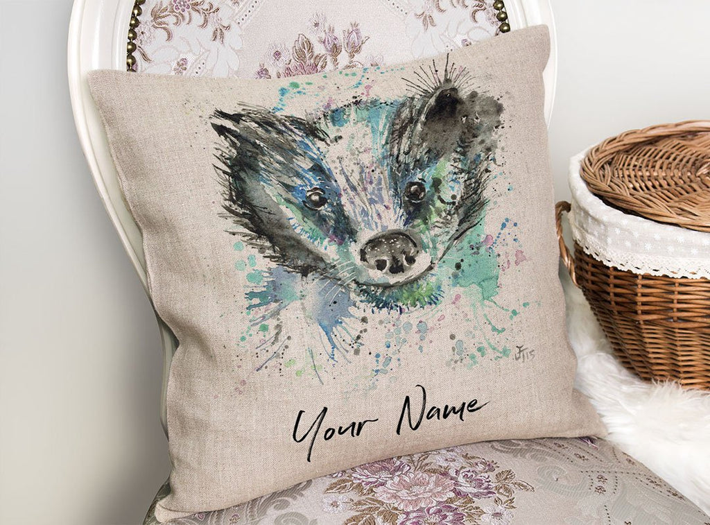 """Baz"" Badger Personalised Linen Cushion Cover"
