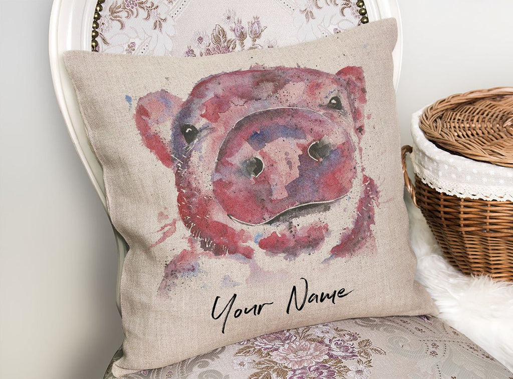 """Priscilla"" Pig Personalised Linen Cushion Cover"