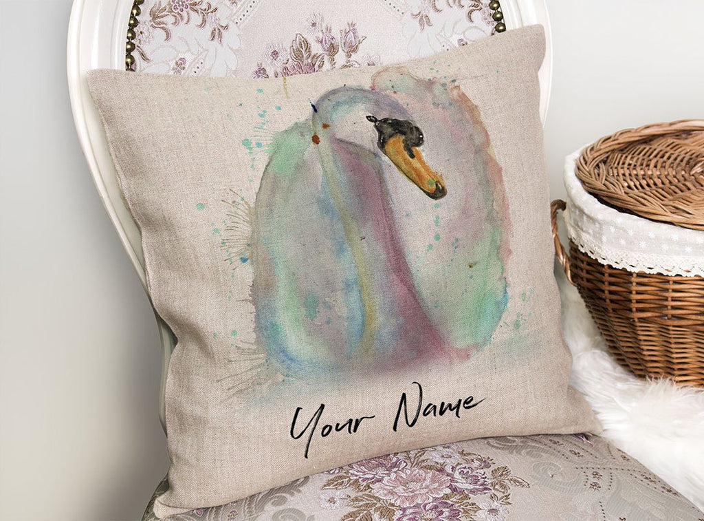Swan Personalised Linen Cushion Cover