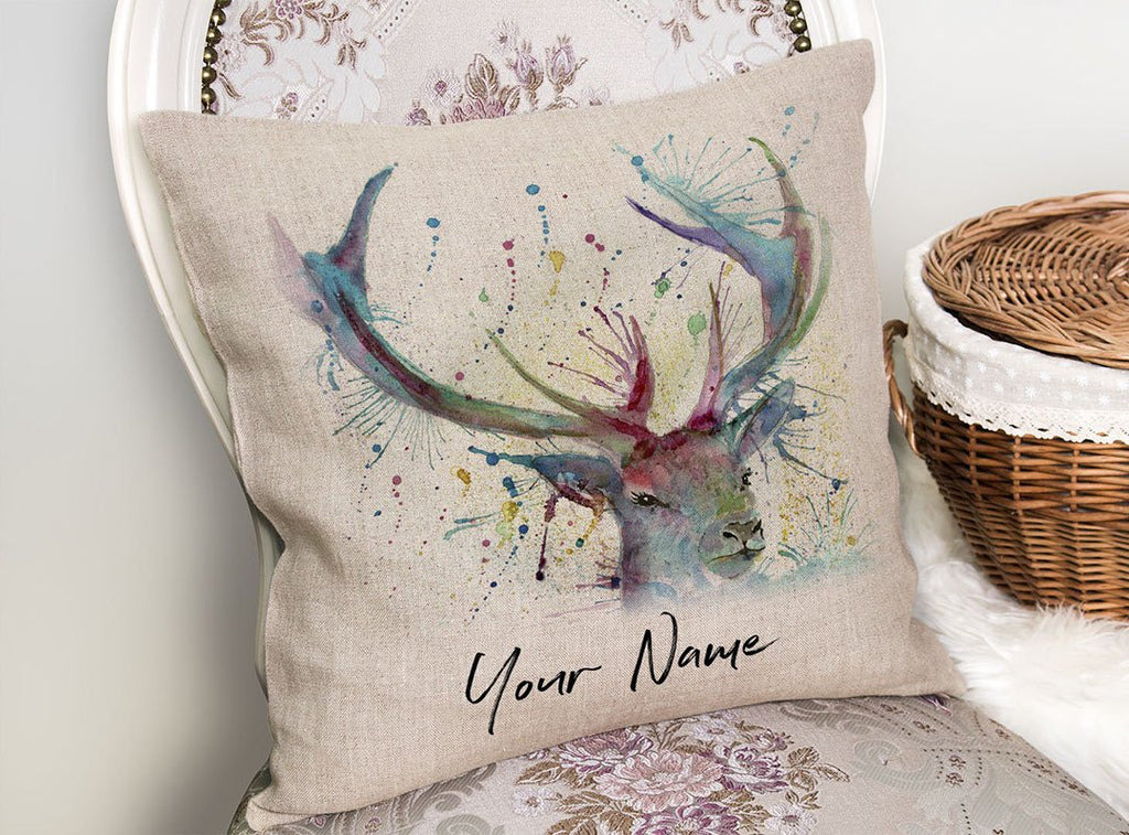 """Proud"" Stag Personalised Linen Cushion Cover"