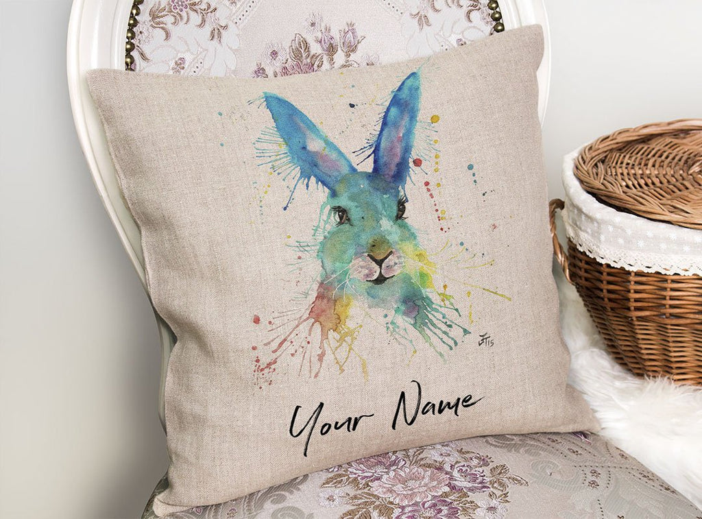 Hare Hare Personalised Linen Cushion Cover