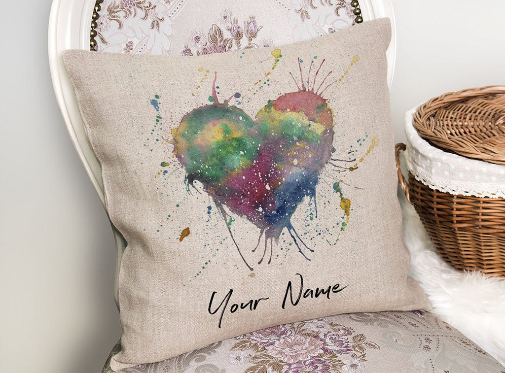 Heart Personalised Linen Cushion Cover