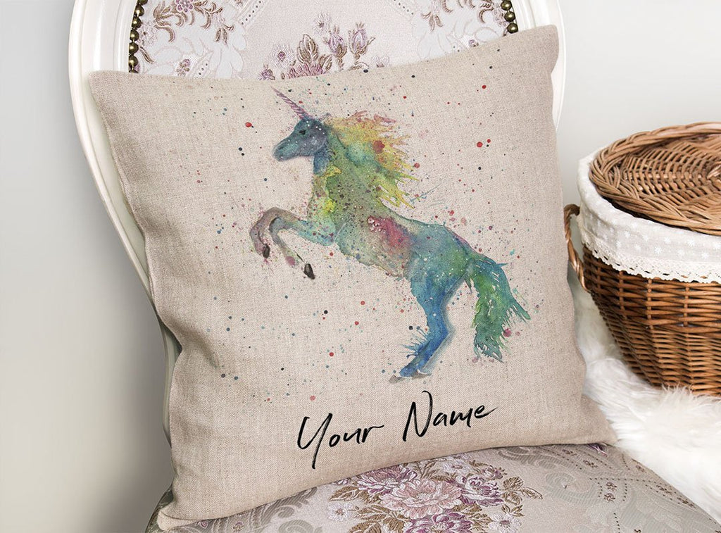 Rainbow Unicorn Personalised Linen Cushion Cover