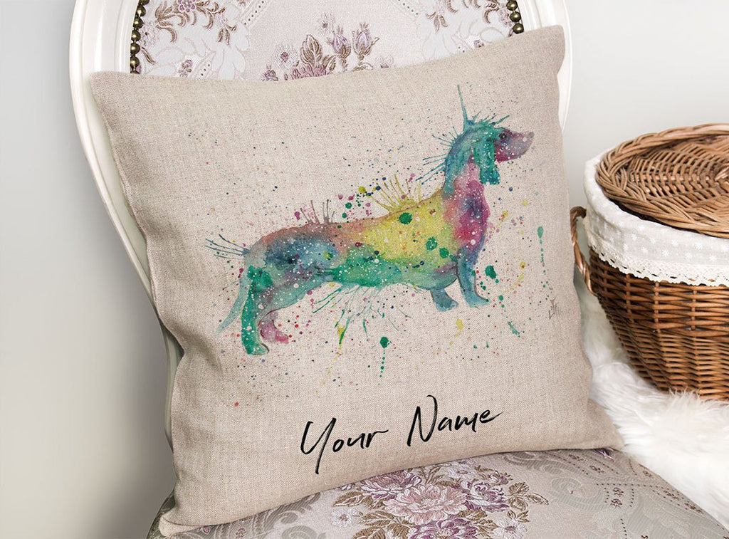 Mrs Sausage Dog Personalised Linen Cushion Cover