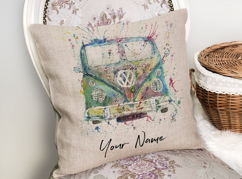 Camper Van Personalised Linen Cushion Cover