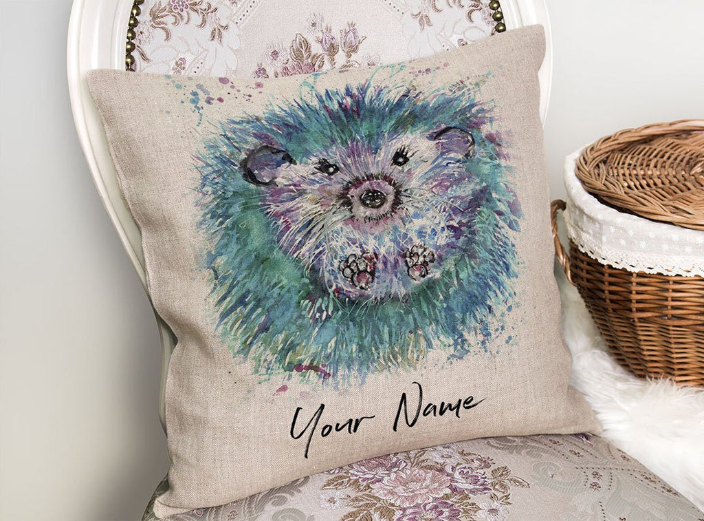 """Maisey"" Hedgehog Personalised Linen Cushion Cover"