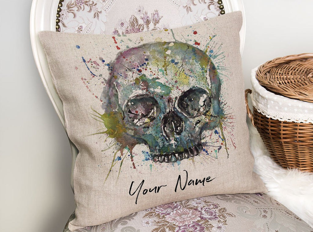 Blue Skull Personalised Linen Cushion Cover