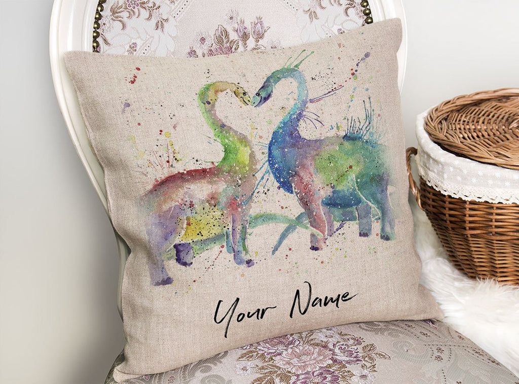 Love Dinosaurs Personalised Linen Cushion Cover