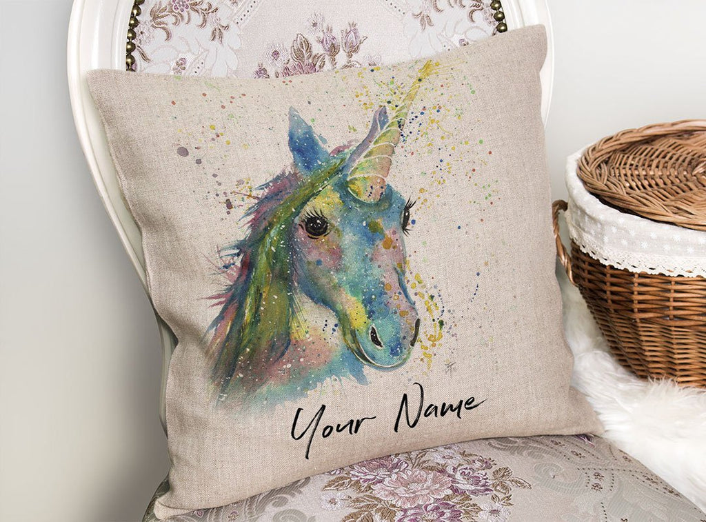 """Patty"" Unicorn Personalised Linen Cushion Cover"