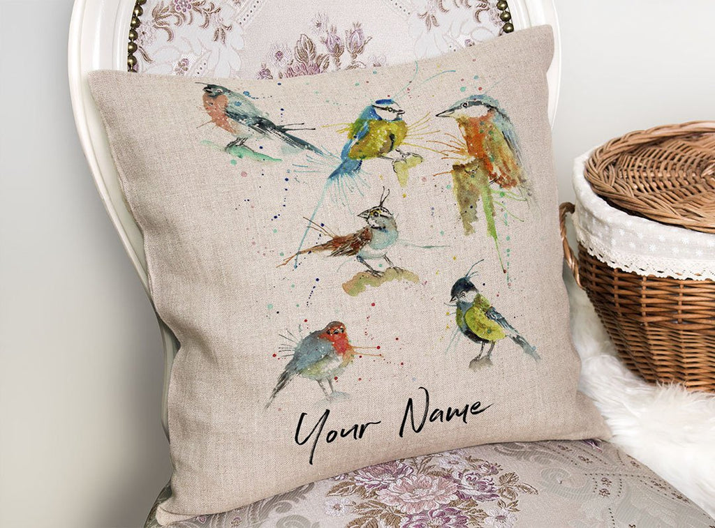 Brit Birds Personalised Linen Cushion Cover