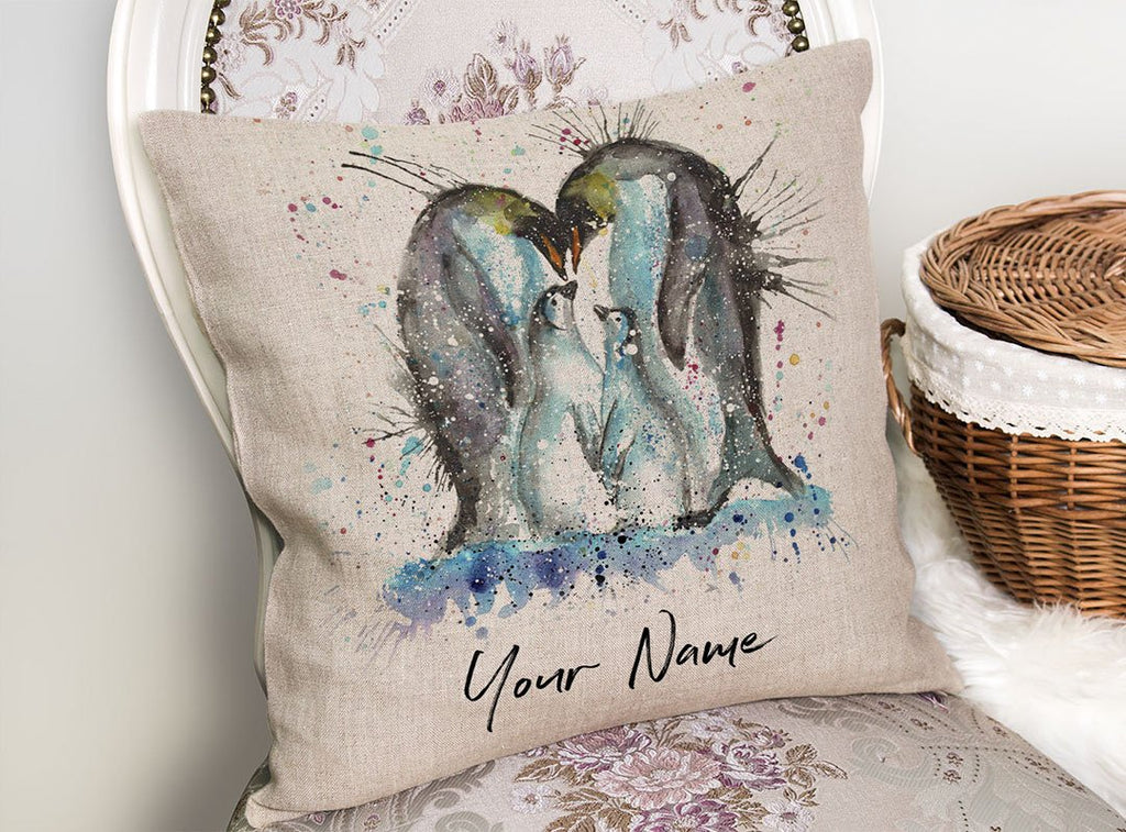 """Home"" Penguins Personalised Linen Cushion Cover"