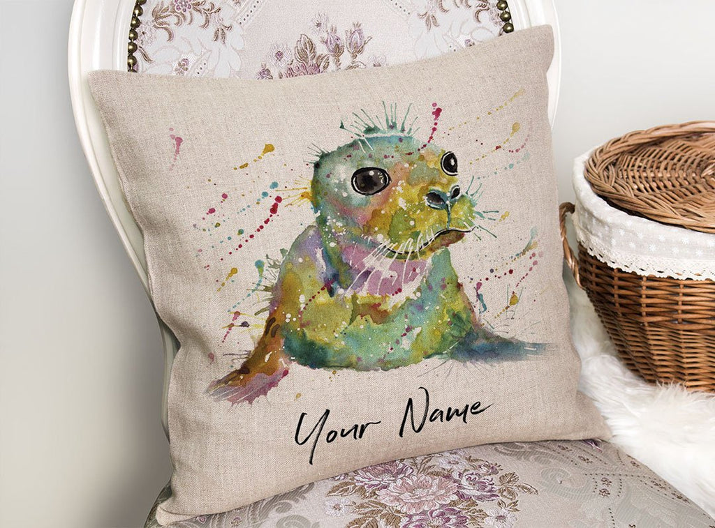 """Toby"" Seal Personalised Linen Cushion Cover"
