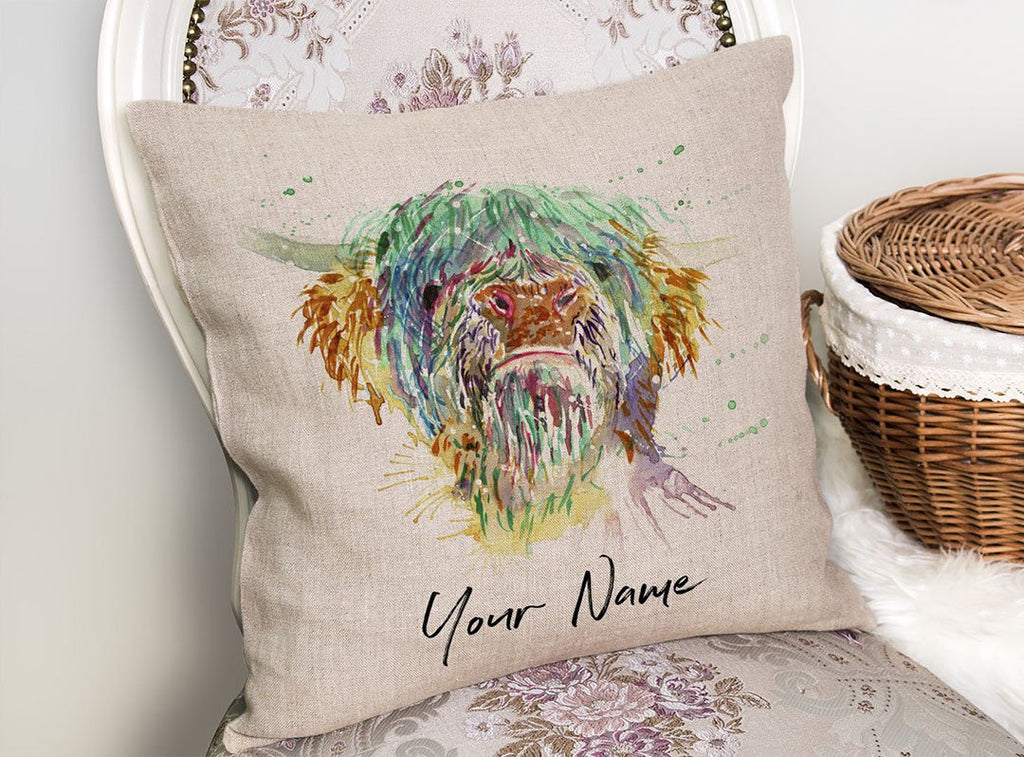 Highland Cow Personalised Linen Cushion Cover