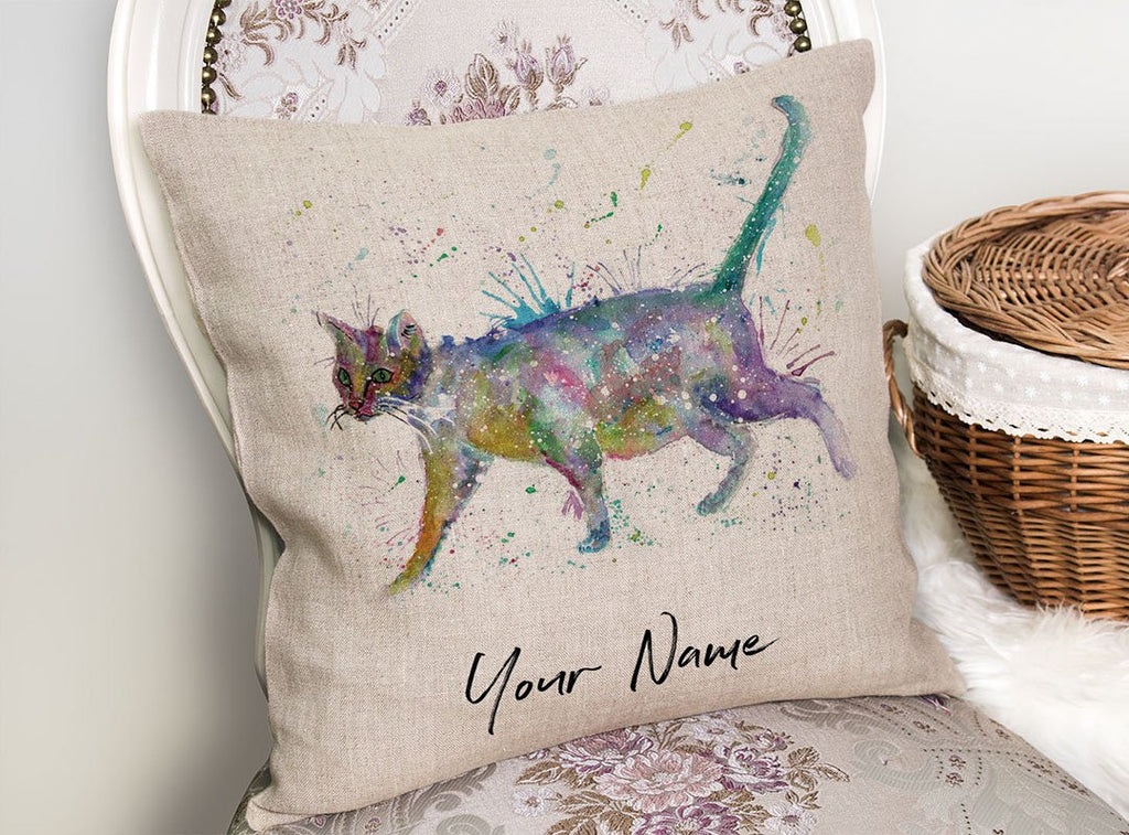 """Bob"" Cat Personalised Linen Cushion Cover"