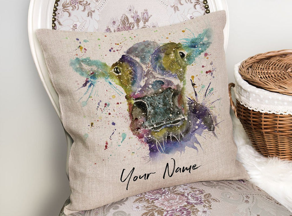 """Daisy"" Cow Personalised Linen Cushion Cover"
