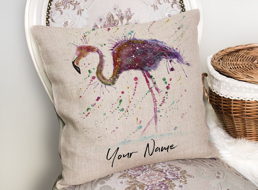 """Doris"" Flamingo Personalised Linen Cushion Cover"