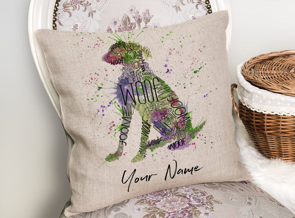 """Woof"" Green Personalised Linen Cushion Cover"