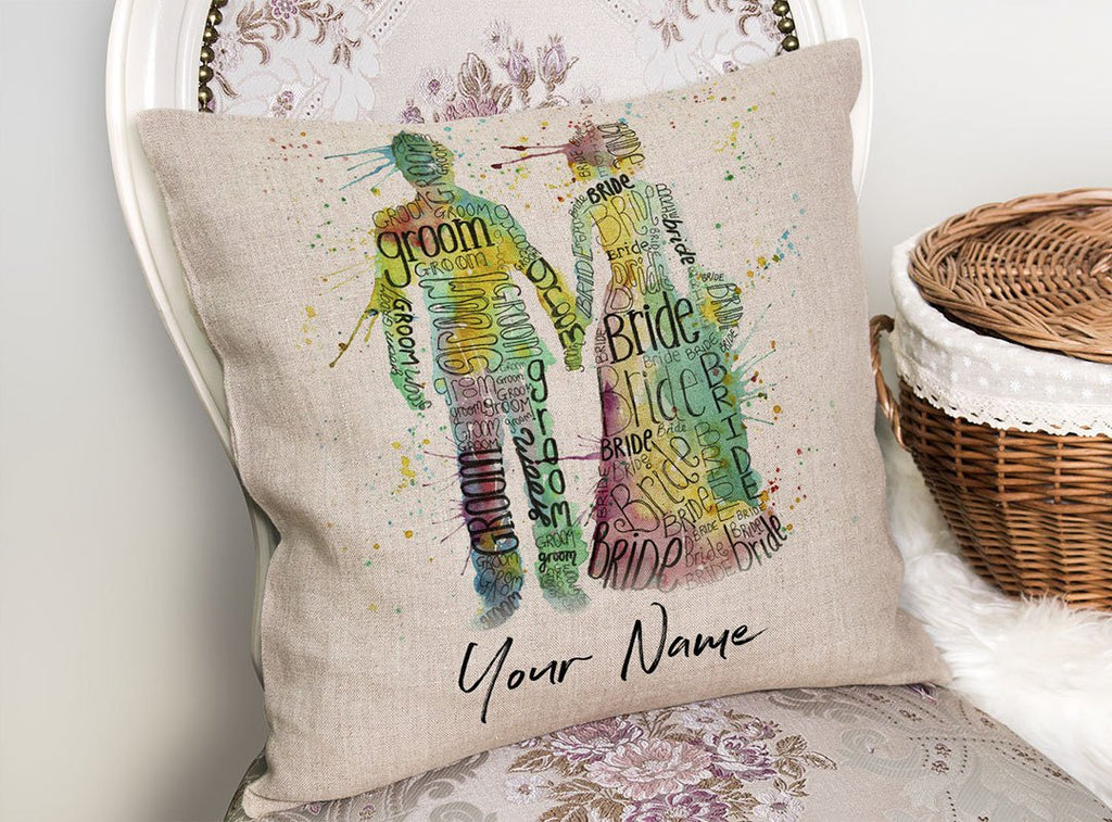 Bride & Groom Personalised Linen Cushion Cover