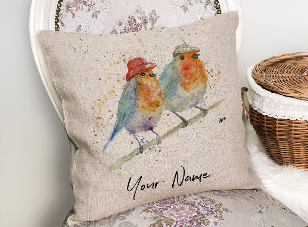Mr & Mrs Robin Personalised Linen Cushion Cover