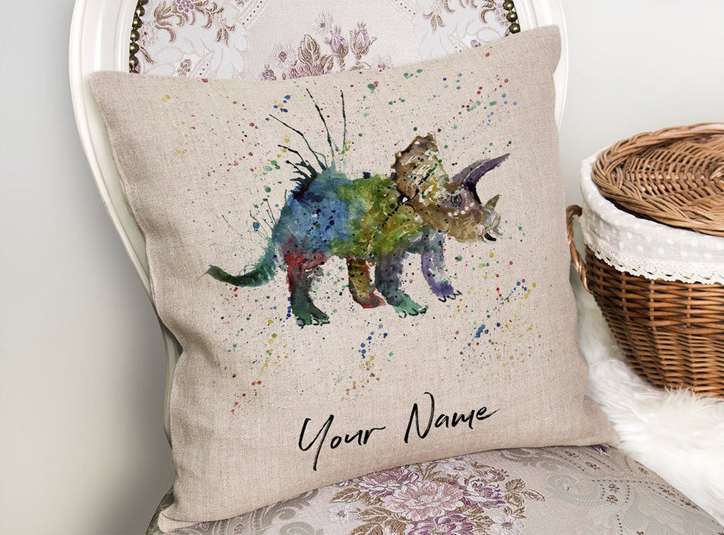 """Steve"" Triceratops Personalised Linen Cushion Cover"
