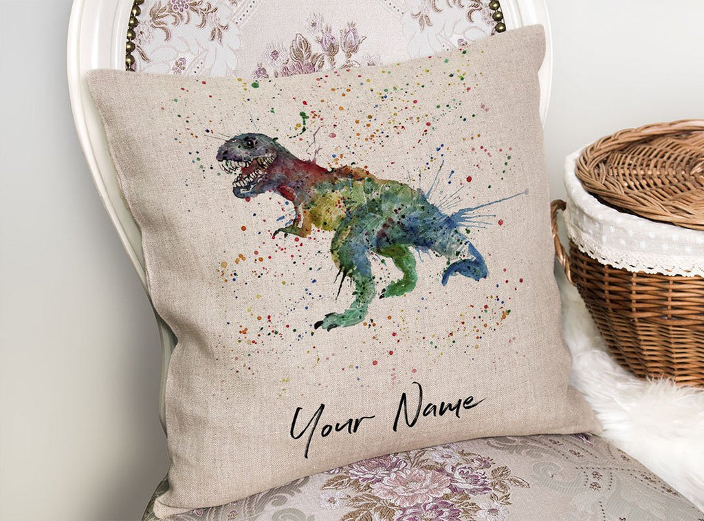 """Gary"" T-Rex Personalised Linen Cushion Cover"