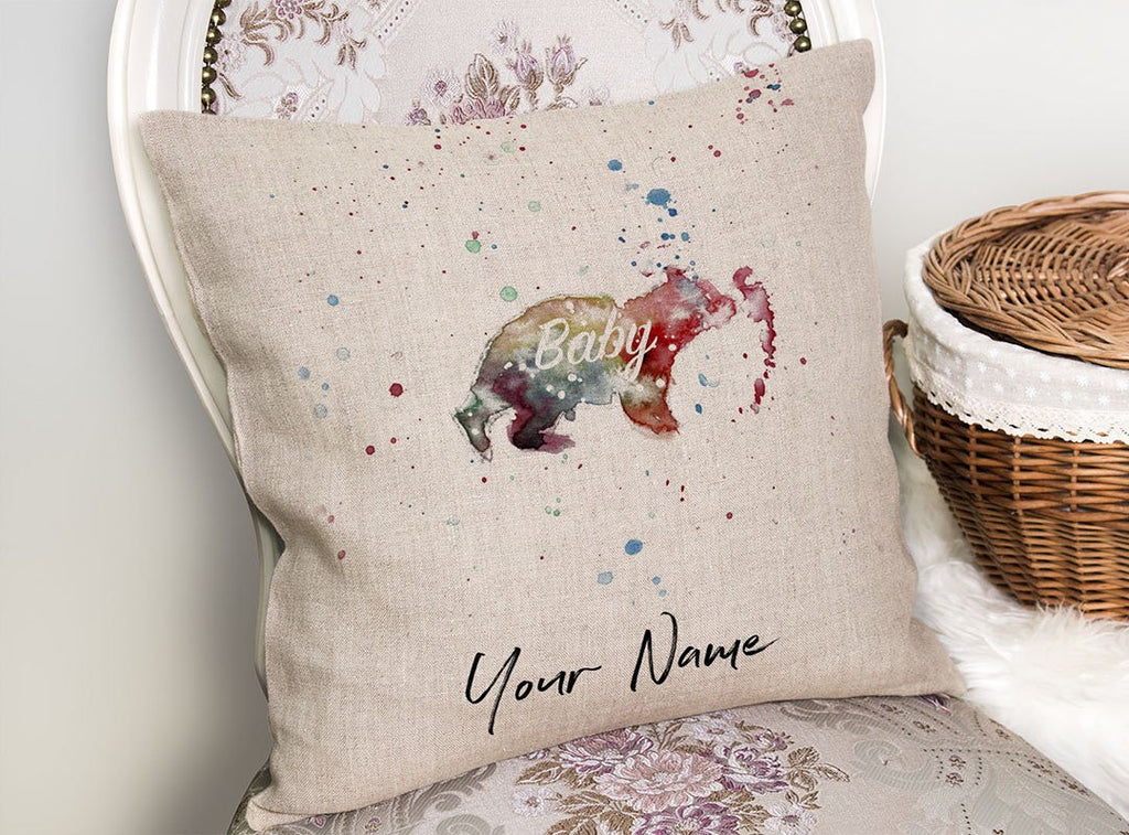 Baby Bear Personalised Linen Cushion Cover