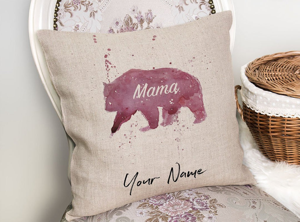 Mama Bear Personalised Linen Cushion Cover